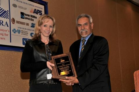 (from left to right) Susan Anable, Director of Public Affairs, Cox Communications, Larry Lucero, Manager of Government Relations, Tucson Electric Power